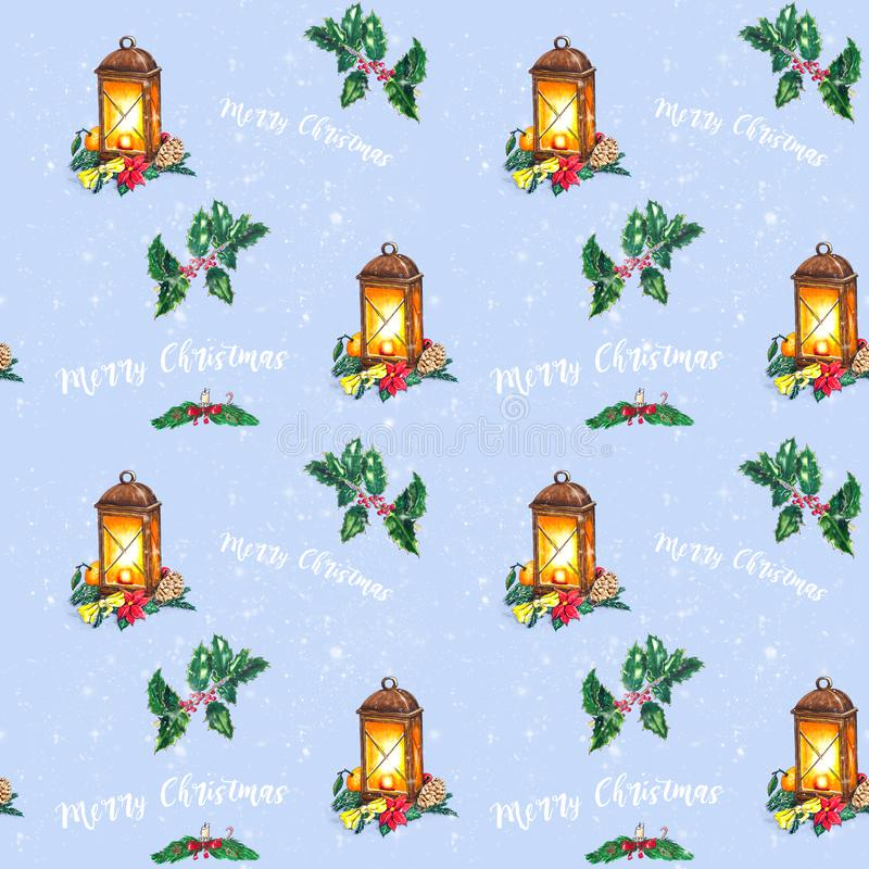 Christmas seamless background with Hand sketched lantern stock illustration
