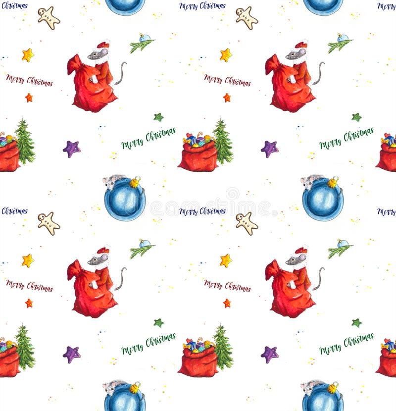 Christmas seamless background with Hand sketched mice and gifts royalty free illustration