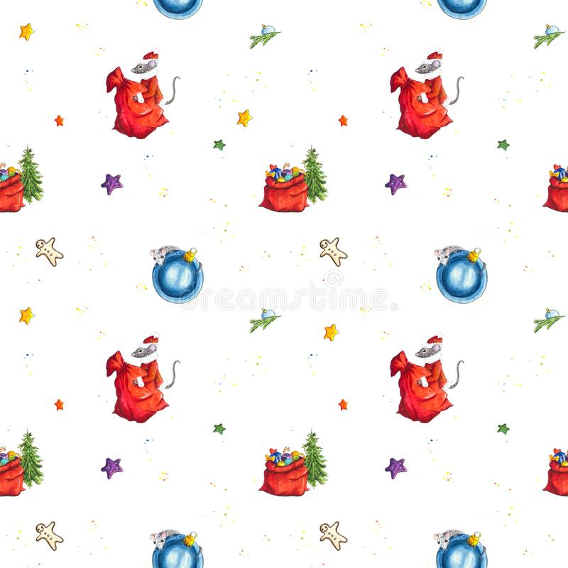 Christmas seamless background with Hand sketched mice and gifts stock illustration