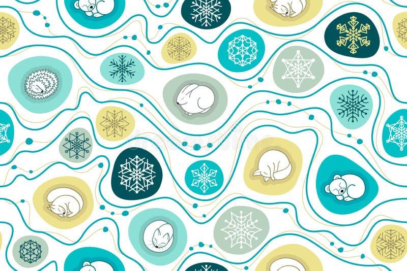 Christmas seamless background with sleeping animals. royalty free illustration