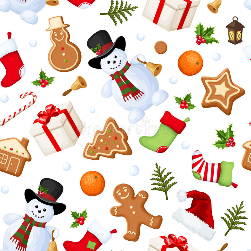 Christmas seamless background. Vector illustration. Vector Christmas seamless background with snowmen, socks, Santa hats, holly, boxes, cookies, oranges royalty free illustration
