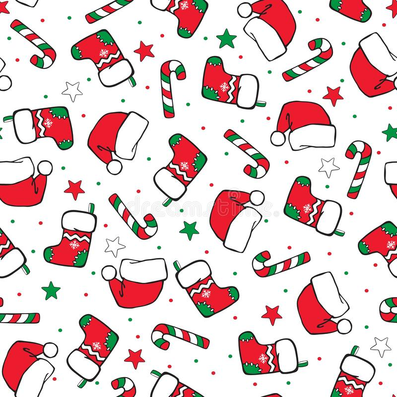 Free Christmas Seamless Cartoon Hand-drawing. Colored Socks, Santa Hats And Sugar Canes  .on A White Background. Vector Background Royalty Free Stock Photography - 163031117