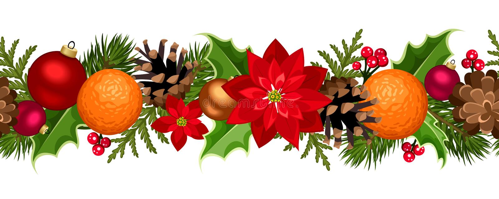 Christmas seamless garland with balls, holly, poinsettia, cones and oranges. Vector illustration. stock illustration