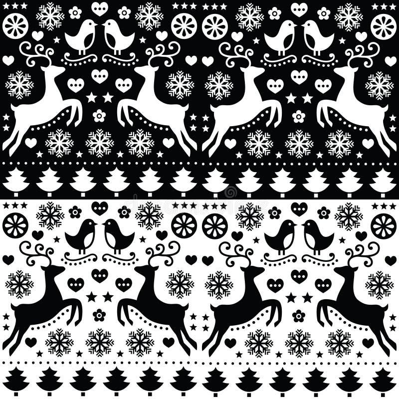 Christmas seamless monochrome pattern with reindeer - folk style stock illustration
