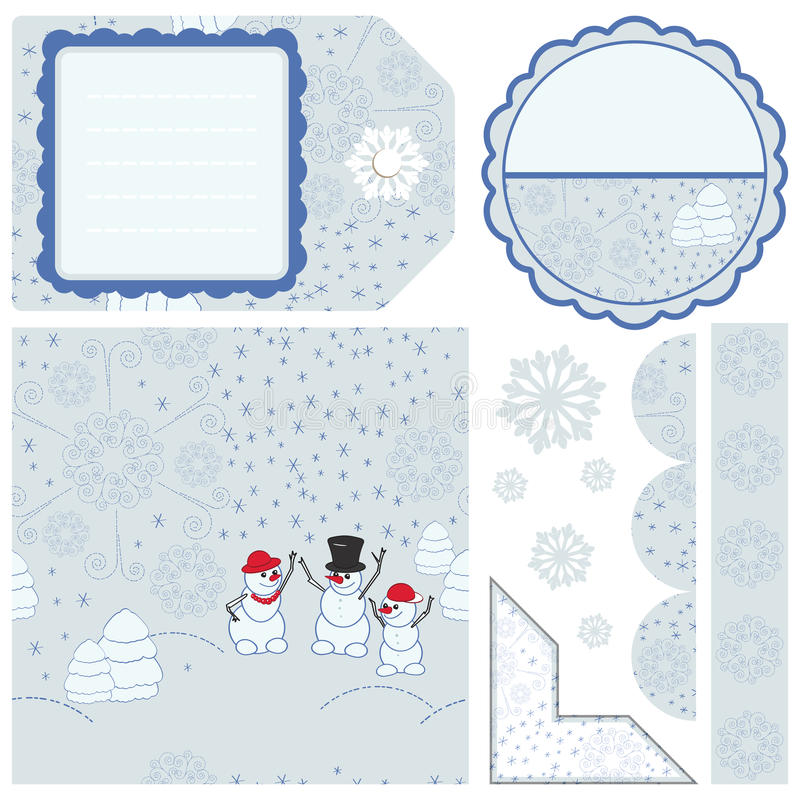Christmas seamless patter and other elements stock image