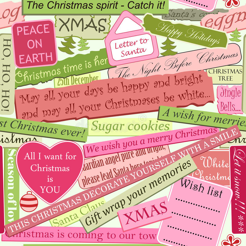 Christmas seamless pattern. Made of newspaper cutouts stock illustration
