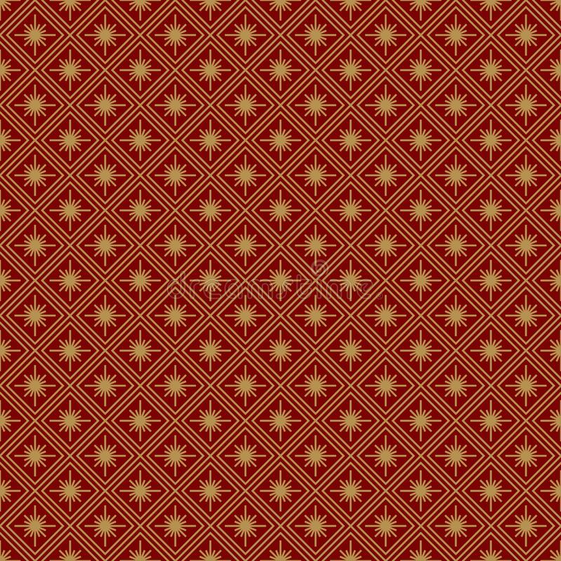 Christmas seamless pattern art deco geometric gold line style on red background vector illustration