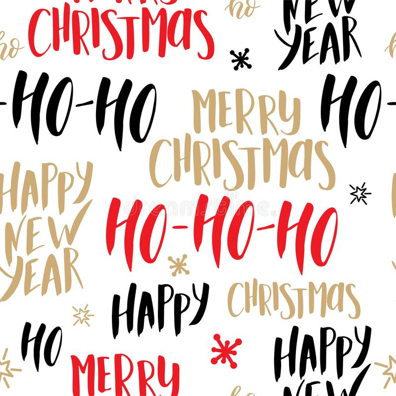 Christmas seamless pattern. Background with hand drawn lettering. Vector design illustration vector illustration