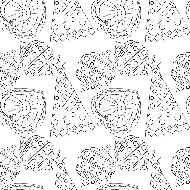 Christmas seamless pattern with balls isolated on white background. royalty free illustration