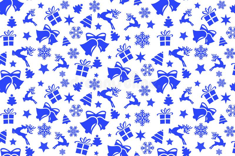 Christmas seamless pattern with Christmas blue elements royalty free stock image