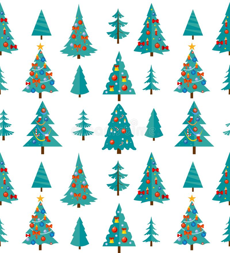 Christmas seamless pattern with blue trees and decorations. Cart stock illustration