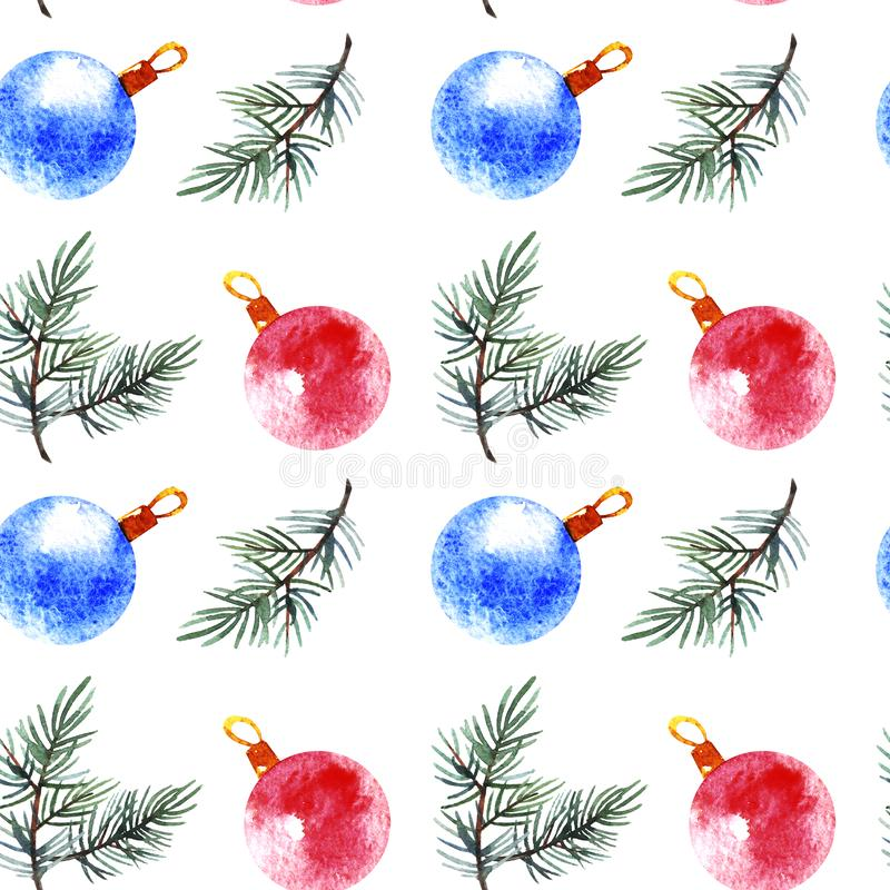 Christmas seamless pattern with branch tree and balls isolated on white background. royalty free stock photo