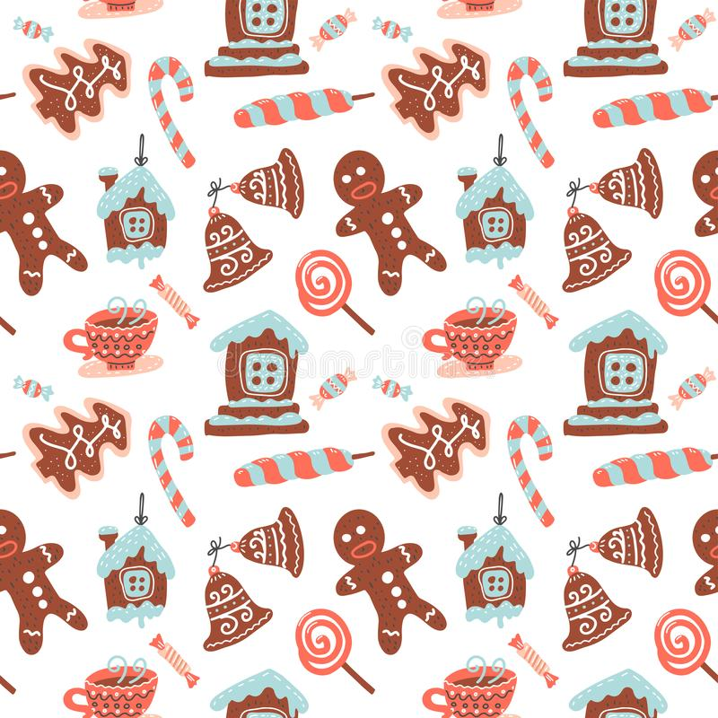Christmas Seamless pattern with cacao drink, ginger cookie, candy cane and lollipop. Xmas sweets. Vector illustration for textile vector illustration
