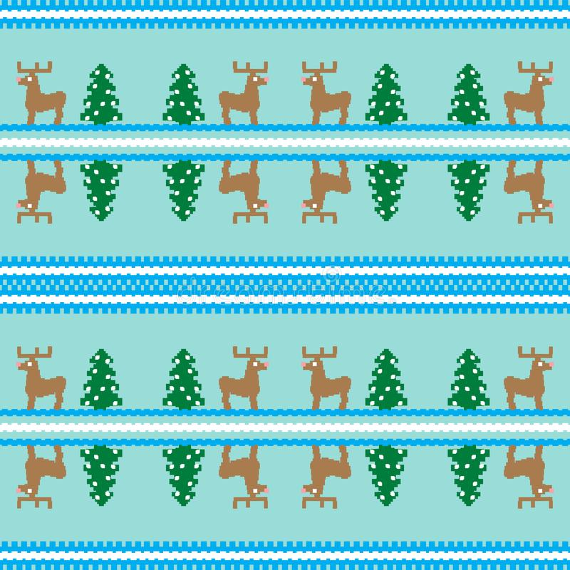 Christmas seamless pattern, card. Cute Christmas background - Xmas trees, deers. Design for textile, wallpaper, web, fabric, decor stock illustration