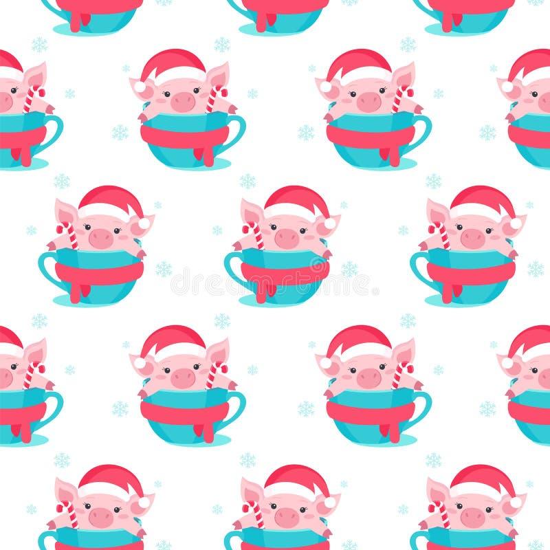 Christmas seamless pattern with cartoon piggy. Vector illustration. stock illustration