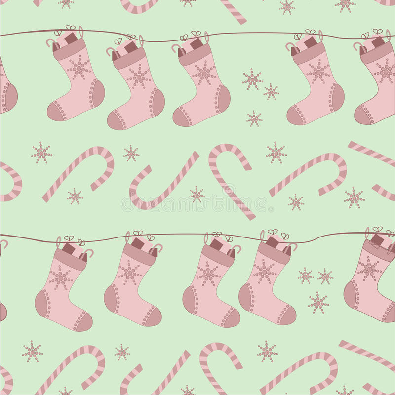 Download Christmas Seamless Pattern With Socks And Canes Royalty Free Stock Photography - Image: 29909237