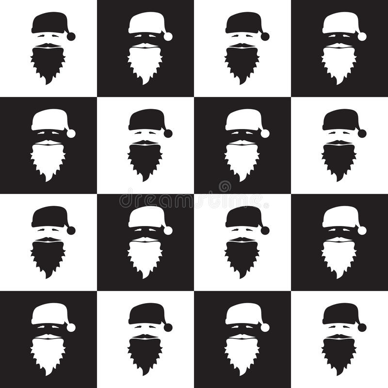 Christmas seamless pattern on chessboard background. New Year wallpaper. Winter black and white wrapping with santa claus. royalty free illustration