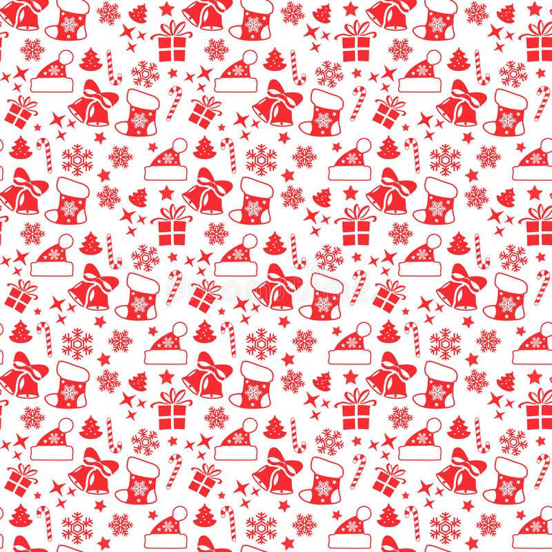 Christmas seamless pattern with Christmas red elements stock images