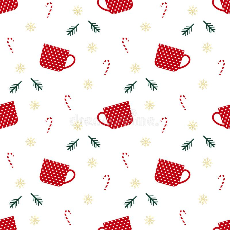 Christmas seamless pattern with cup, christmas stick, branch, snowflakes, perfect for wrapping paper, christmas decorations, royalty free illustration