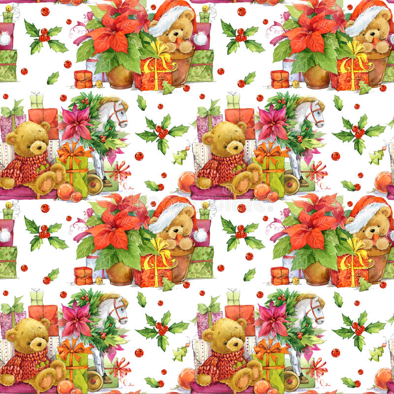 Free Christmas Seamless Pattern. Cute Bear. Royalty Free Stock Photos - 70130038
