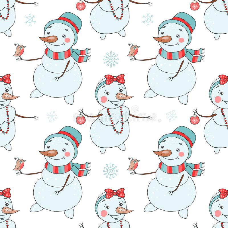 Christmas seamless pattern with cute couple snowmen royalty free illustration