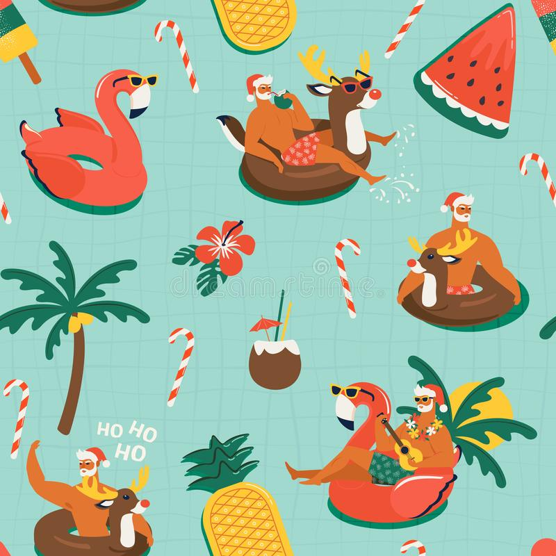 Christmas seamless pattern with cute funny Santa Claus animals with reindeer and flamingo inflatable ring. Tropical vector illustration