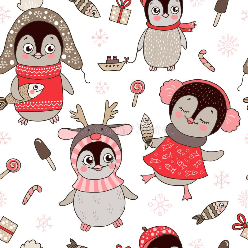 Christmas seamless pattern with cute penguins and snowflake vector illustration