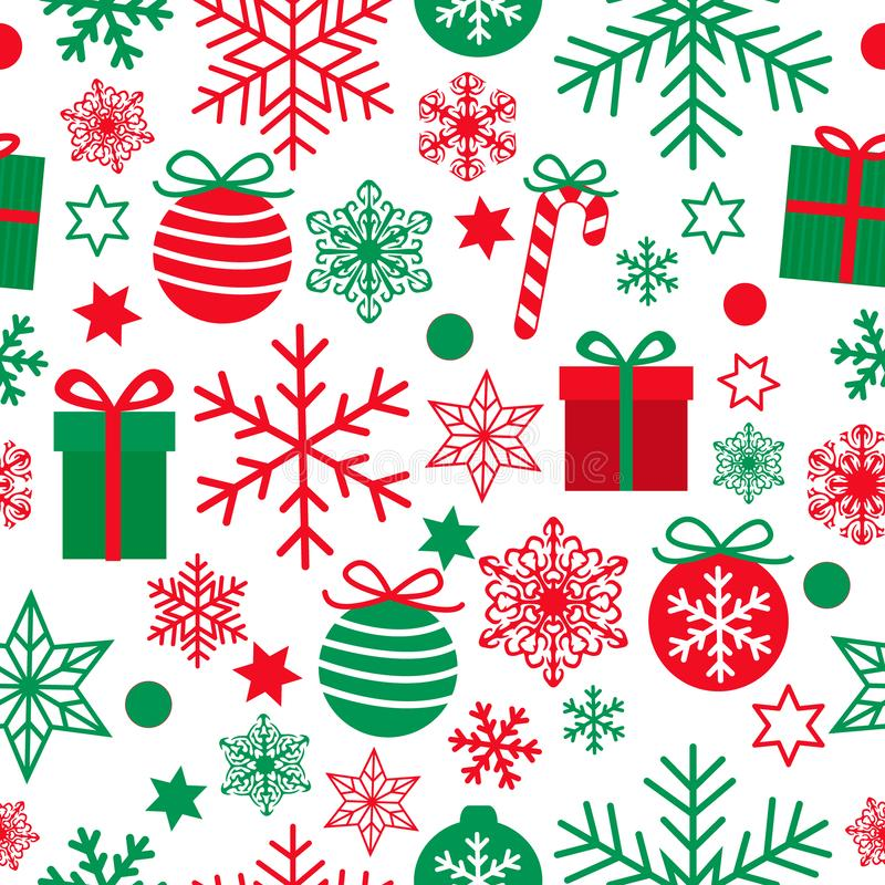 Christmas seamless pattern with cute red and green gifts, balls, stars and snowflakes isolated on white background. Simple retro style design for Holiday royalty free illustration