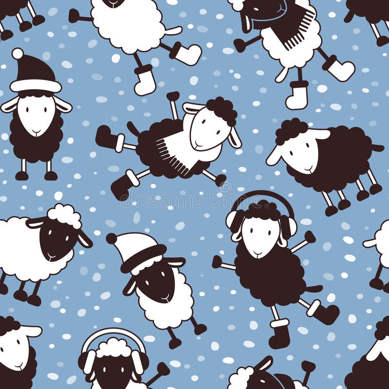 Download Christmas Seamless Pattern With Cute Sheep Stock Vector