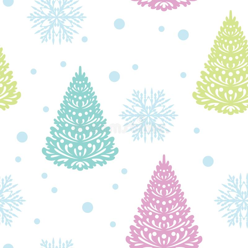 Christmas seamless pattern. Cute christmas trees and snowflakes isolated on white background. Vector illustration of christmas dec vector illustration