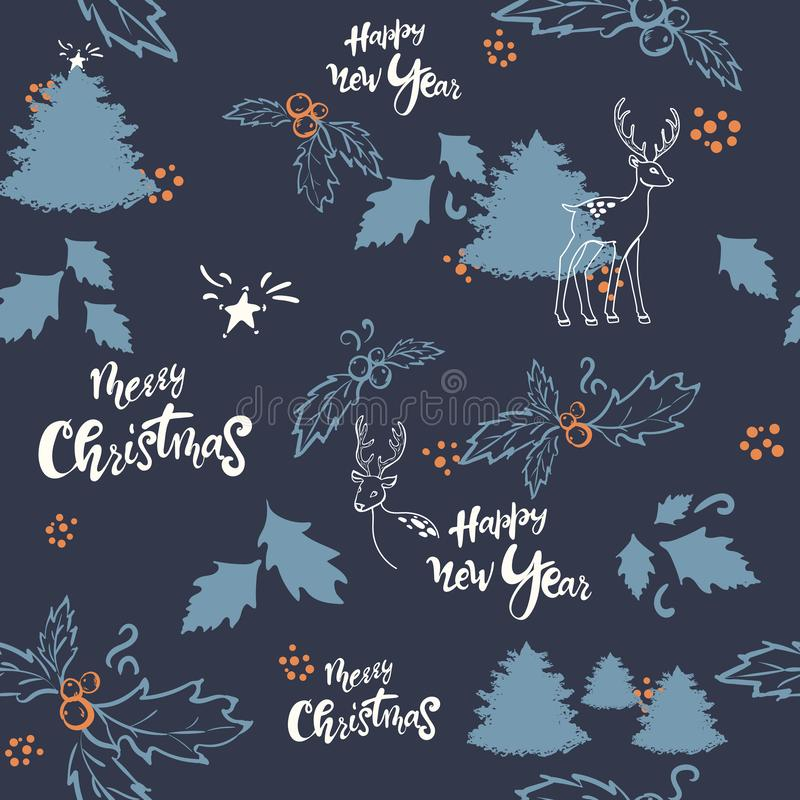 Christmas seamless pattern, dark background. Forest deer animals, tree, mistletoe berries, stars. Vector illustration stock illustration
