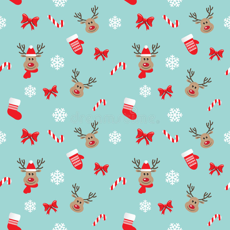 Christmas seamless pattern with deer. For print and web royalty free illustration
