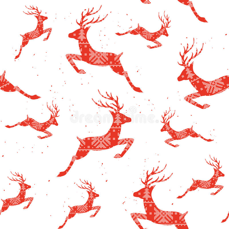 Christmas seamless pattern with deers. Deers The cross stitch. Decorative pattern. vector illustration