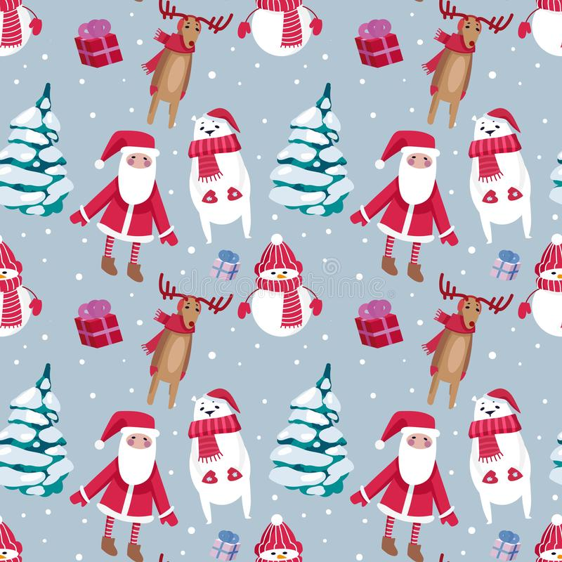 Christmas seamless pattern design with snowman, Santa, deers and vector illustration