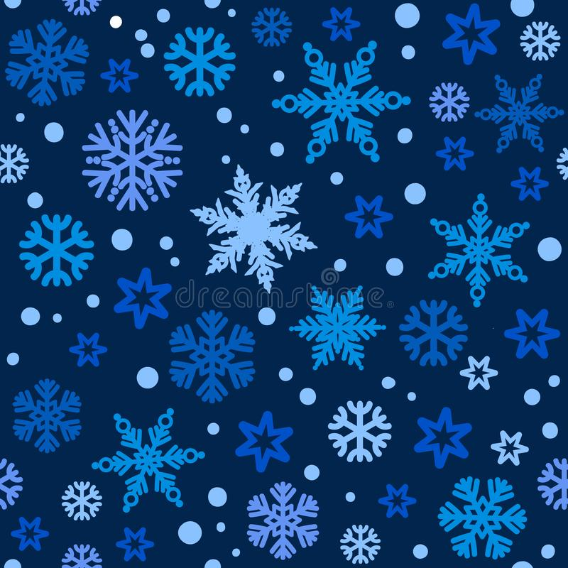 Christmas seamless pattern with different shades of blue snowflakes falling on dark night sky bakground. Vector. Christmas seamless pattern with different stock illustration