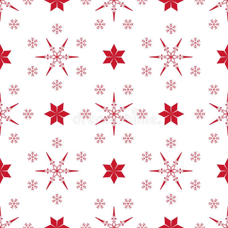 Christmas seamless pattern with different snowflakes in red on a white background. Traditional winter ornament.  royalty free illustration
