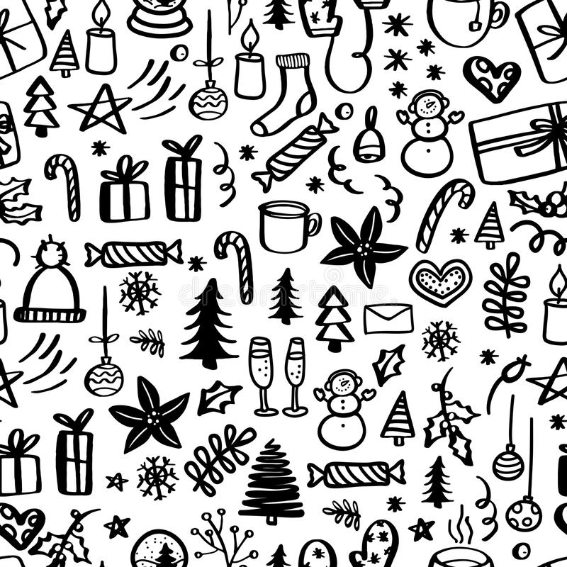 Christmas seamless pattern with doodles. Hand drawn xmas illustrations. royalty free illustration