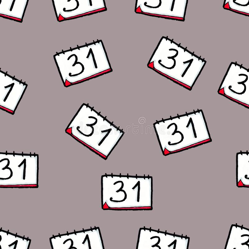 Christmas seamless pattern drawn by hand. Calendar on a grey background. New Year's Eve. December 31 stock illustration