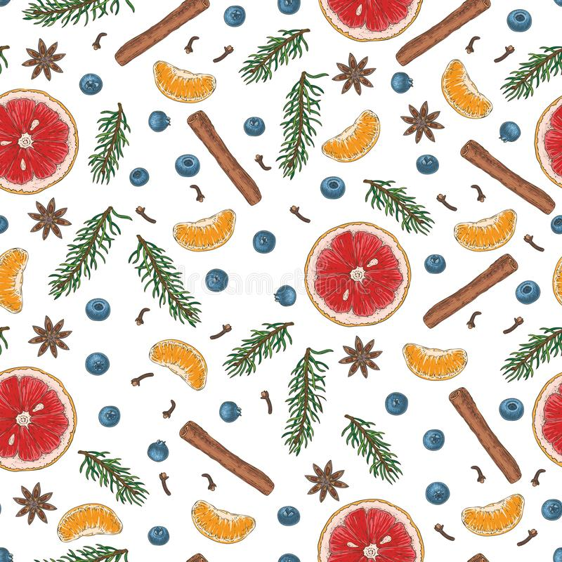 Christmas Seamless Pattern with Fruits 皇族释放例证