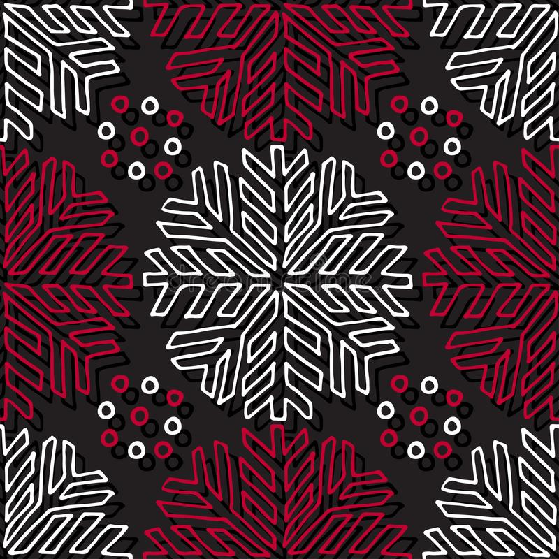 Christmas seamless pattern. Geometric texture with linear snowflakes ornament. Abstract endless background. Vector design for wrap royalty free illustration
