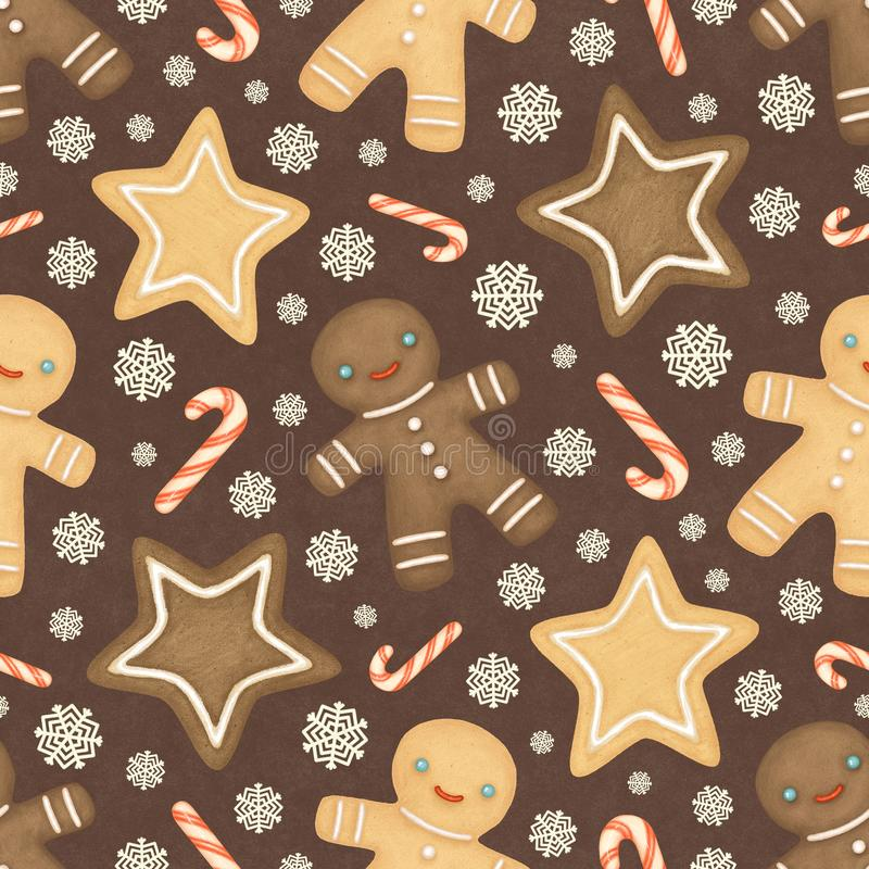 Christmas seamless pattern with gingerbread men. Gingerbread men, candy canes, and snowflakes on a brown background stock illustration
