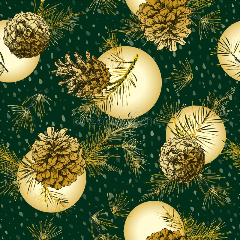 Christmas seamless pattern with golden realistic botanical ink sketch of fir tree branches with pine cone on snow stock illustration