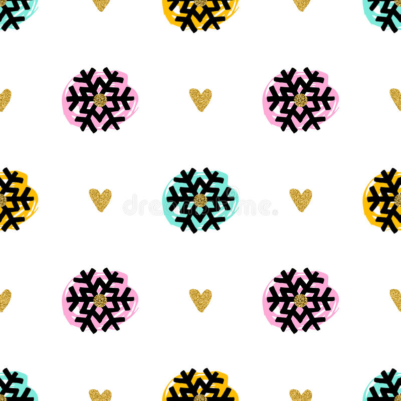 Christmas seamless pattern, hand-drawn marker snowflakes, gold hearts, brush strokes. Trendy Christmas seamless pattern. Lovely hand-drawn marker snowflakes stock illustration