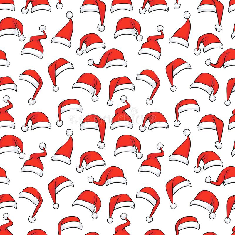 Christmas seamless pattern with hand drawn red Santa hats vector illustration