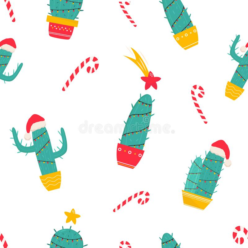 Christmas seamless pattern with holiday cacti royalty free illustration