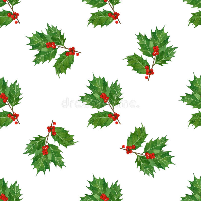 Christmas seamless pattern with holly berries and leaves in watercolor on white background. vector illustration