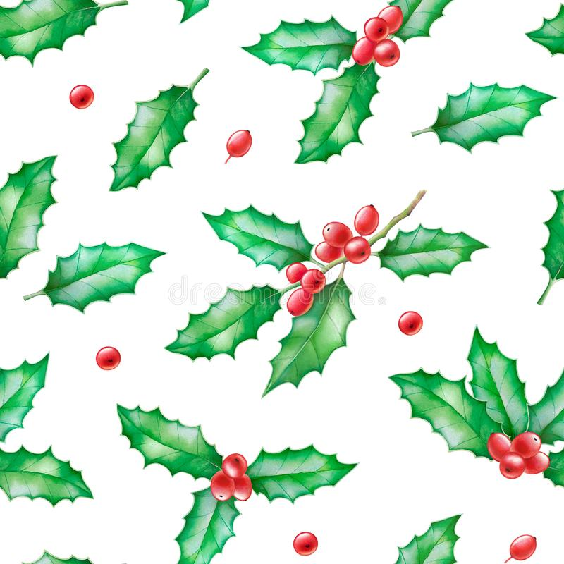 Christmas seamless pattern with holly branches royalty free illustration