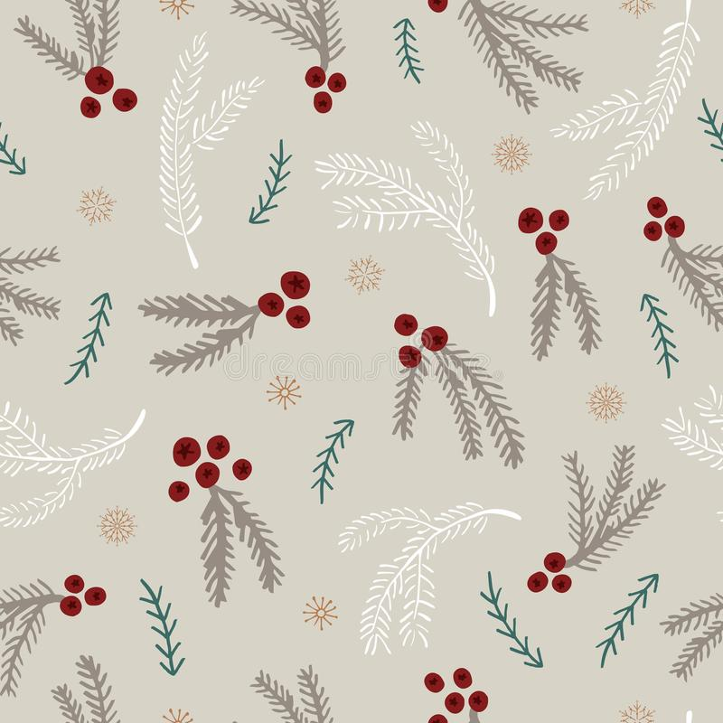 Christmas seamless pattern with holly leaves, berries, spruce branches, mistletoe and snowflakes vector illustration