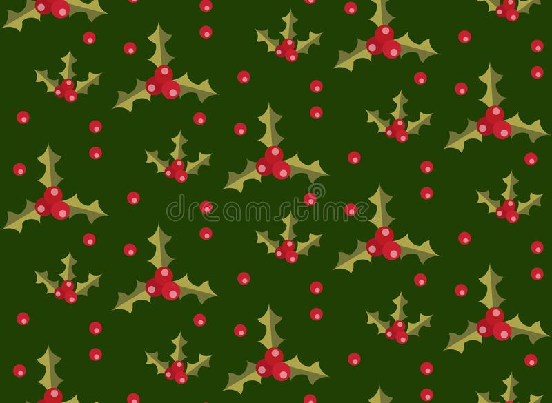 Christmas seamless pattern with holly. Xmas endless background. Holiday repeating texture, wallpaper, fabric. Vector stock illustration