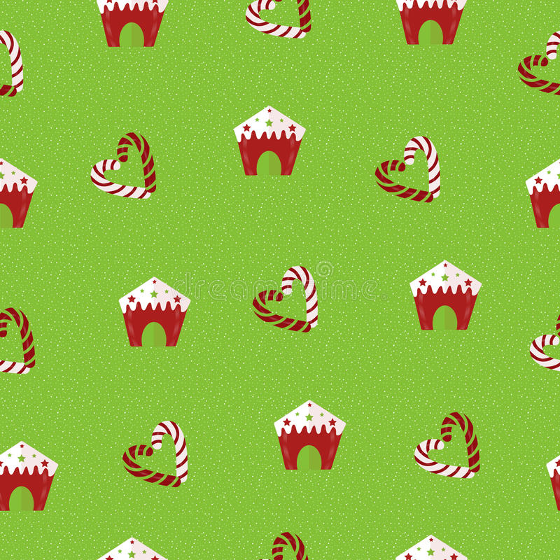 Christmas seamless pattern. Lollipops and gingerbread houses on a green background. stock illustration